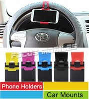 Wholesale Universal Car Streeling Wheel Belt Clip Smart Bike Mount Phone Holder For iPhone S S S Plus Galaxy S6 S5 Note M9 Cell Phone GPS
