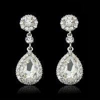 Wholesale Good New off colour crystal woman fashion tear earring sterling plated earring stud