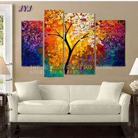 Bright LifeTree Painting Art 100% Handmade Modern Abstract Oil Painting Canvas Wall Art Gift Top Home Decor NO FRAME FC011