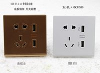 Wholesale 86 type wall switch socket dual usb USB five hole five hole socket with a switch control USB charging socket
