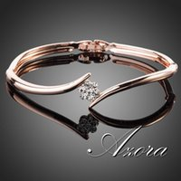 Wholesale AZORA K Rose Gold Plated Stellux Austrian Crystal Rose Elegant Bangle Bracelet TB0011