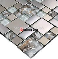mosaic tile - Glass mosaic tile backsplash SSMT111 silver metal mosaic stainless steel mosaic tiles sheet stainless steel mosaic glass tiles