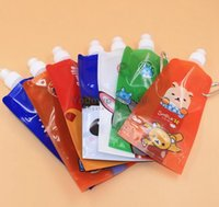 Wholesale 480ml Folding Water bottle Portable water bag cartoon bag Sport Bag foldable water bottle With OPP packing JJD0132