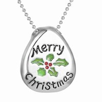 america element - Merry Christmas Silver Teardrop shaped Pendant Christmas Element Ball Chain Necklaces Europe and America Best Selling Women Jewelry N14