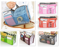 Wholesale Handbag Purse Dual Organizer Insert mp3 phone cosmetic Storage Nylon Bag in Bag
