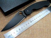 Wholesale High quality Custom Spyderco C36 military folding knife CPM cr steel pocket C36 knife G10 Black handle Black blade