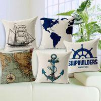 anchor sail - Almofadas Cojin Retro Anchor Sailor Sailing Ship Map Pillow Case Home Office Decorative Couch Cushion Case Cojines