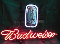 american shopping stores - NEON SIGN For New American Budweiser Lager Signboard REAL GLASS BEER BAR PUB display Shop Store Custom Light Signs quot