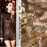 Wholesale free shipingWater soluble lace one piece dress material three dimensional flowers bronzier silver blue lace material fashion cutout fabric