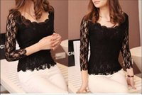 Cheap Sexy Camisas Women lace O neck long sleeve Embroidery Shirt Blusa De Renda Blouse blusas Crochet Tee Blouses