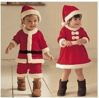 Wholesale 2014 Christmas Santa Baby Boys Girls Romper Red Rompers Fleece Romper Dress Xmas Long Sleeves Climbing Clothes