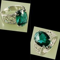 Wholesale Delicate Emerald Stone Sparkly Zirconia Inlaid Luxury Lady Ring AR27 mm CT Oval Cut Green Topaz Gemstones Silver Ring Size