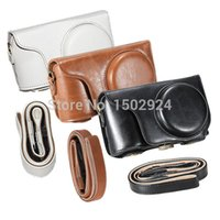 Wholesale PU Leather Camera Case Protective Cover Bag Three Color for Samsung Galaxy EK GC200 GC200 With Shoulder Strap