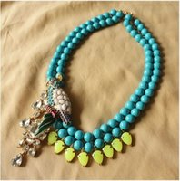 beautiful woodpecker - Min order is mix order Beautiful full double layer blue beads parrot colorful woodpecker crystal rhinestone necklace