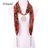 Wholesale Fashionable Design Scarfs Pendant Boho Print Women Scarves Necklaces with Retro Hollow Out Flower Charms Tassel D Exceed SC150009