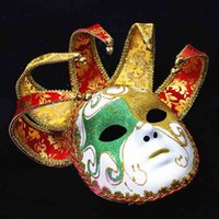 bell full face - Italy Venetian Masquerade Mask Bright Color Full Face Horn Horn Cosplay Mask with Bells Halloween Dancing Party Accessories
