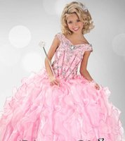 Cheap Fashion Girls Pageant Dress Cap Sleeves Sequins Beads Ball Gown Ruffles Pageant Gown for Little Girls Organza Flower Girls