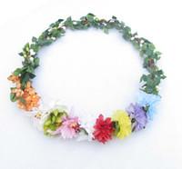 Wholesale Boho Fairy artificial handmade garlands Wedding bridal silk flower headdress Hawaii woodland headpieces hair accessory