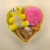 bath body basket - Bath accessories wood bath set pieces bath brush cleansers konjac sponge body basket set M