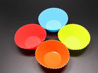 Wholesale 1000pcs Random colors Round Shape Silicone Muffin Cases Cake Cupcake Liner Baking Mold Kitchen Tools Gadgets