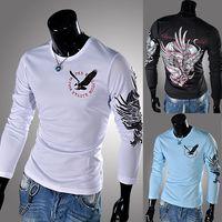 brand fashion t-shirt - Mens shirts fashion brand Casual Shirt Men Slim Fit Camisa Polo Men Autumn long Sleeve T Shirts Casual Dress Men Print Clothes