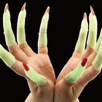 best costume deals - Best Deal PC Novelty Vivid Halloween zombie witch costume supplies props luminous false nails sets Cosplay Party Accessorries