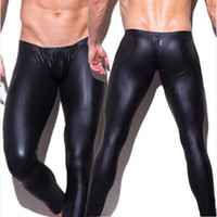 Wholesale 1pcs Mens Long Pants Sexy Brand Hot Fashion human made leather N2N Tight trousers casual Leisure New Nightwear Sexy