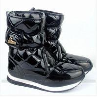 Botas mayor-patente brillante pato de goma Marca Mujeres Botas, Señoras nieve Botas Luz impermeable y caliente Zapatos de punta redonda Plus Size 8