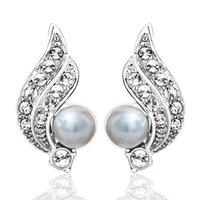 amber wing - Kalome jewelry Korea fashion angel wings Pearl Crystal Clip Earrings Pierced Earrings Ear female no earrings