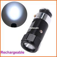 Wholesale Car Cigarette Lighter Rechargeable LED Flashlight Built in Ni MH battery Super bright white LED emitter Black