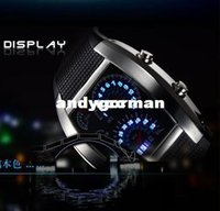 watch led - New Fashion Men Sport Watches LED Display Male Military Waterproof Watch Sports Car Meter Dial Silicone Strap Clock LD2834