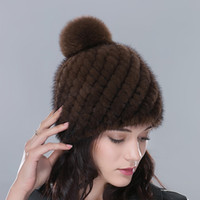 balls check - Hot Winter Knitted Real Mink Fur Hat With lining with Fox Fur Ball Pom Poms for Women Mink Fur Beanies Caps Female