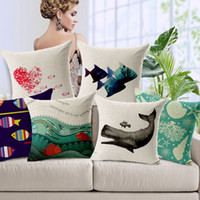 pillow cover - New Europe Cushion Cover Marine Fish Whales Shells Pillow Cover Mediterranean Style Cotton Linen Cushion Cover for Sofa Car Decoration