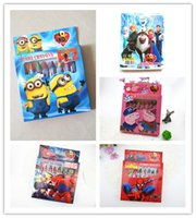 Wholesale Despicable Me Frozen Spider man Big Hero Baymax Pig Cartoon Painting Pens Crayon Stationery Set Movie Painting Pens for Student Kids Childre