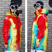 Wholesale FASHION women skiing snowboard jackets Tie dye original cotton Nano polyester