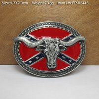 Wholesale Rebel Flag Bull HEAD Cowboy Metal Belt Buckle Texas Fashion Mens Western Avengers Cowgirl
