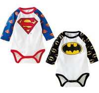 Wholesale Children One piece Super Man Batman Cute Baby Rompers Hot Spring Cotton Long Sleeve Infant Triangle Climbing Clothing Black Blue L1967