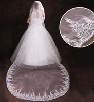 Cheap Wholesale hot Bridal wedding accessories bride new car hub lace 3 meters long bridal veil t73