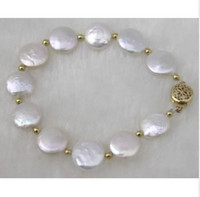 akoya pearl strands - CHARMING NATURAL MM ROUND AKOYA WHITE PEARL BRACELET K GOLD CLASP
