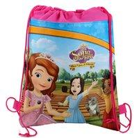 Wholesale Children Backpacks Sofia the first Schoolbags Boy Girl Cartoon Bag Environmental Protection Draw String Bags Handbag