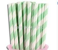 baby shower crafts for kids - 500pcs Vintage Mint Striped Paper Straws Cake Pop Sticks Striped Straws for Parties and Crafts Baby Shower Birthday Kids Straws