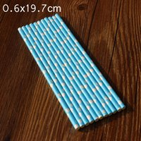 Wholesale Blue Hearts Paper Straws Drinks Decoration Valentine s Day