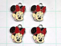 Wholesale 50 red color Minnie Mouse head alloy enamel charms