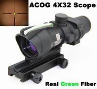 Wholesale Gun Sight Tactical Gun Sight New Arrival Hunting Shooting Trijicon Acog x32 Riflescope green Optical Real Fiber with Markings