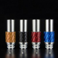 stainless steel fiber - Carbon Fiber with Stainless steel Drip Tips Rich Style Wide Bore Drip Tip for CE4 RDA Evod DCT E Cigarettes mods Atomizer Mouthpieces