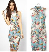 Wholesale Printing and dye Women s wear floral flower printing knitting cotton stretch cultivate one s morality sleeveless neck package buttocks dress