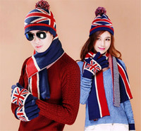 winter hat scarf and glove set - Acrylic Knitted Hat Scarf And Gloves Set UK America Flag Design Winter Scarf Set