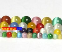 Wholesale Pick Size MM Smooth Multicolor Cats Eye Beads Natural Stone Spacer Loose beads quot Strand Mexican Opal F00235