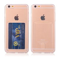 apple pudding - 2015 new soft TPU phone case with card Slots for iphone iphone plus case Ultrathin transparent Pudding clear back cover