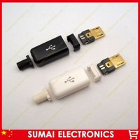 Cheap Free shipping 10sets lot gold plating DIY 4 in 1 Micro USB Male 5P Assembly Adapter Connector Plug Socket white&black